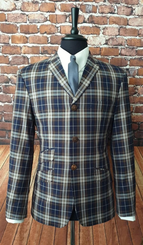 """Felix"" Navy & Browns Bold Check Jacket"